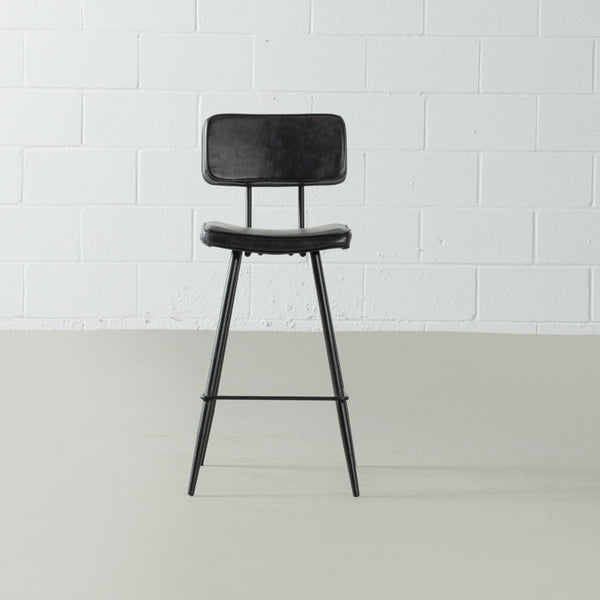 BLAKE - Black Leather Bar Stool (65 cm + 75 cm)
