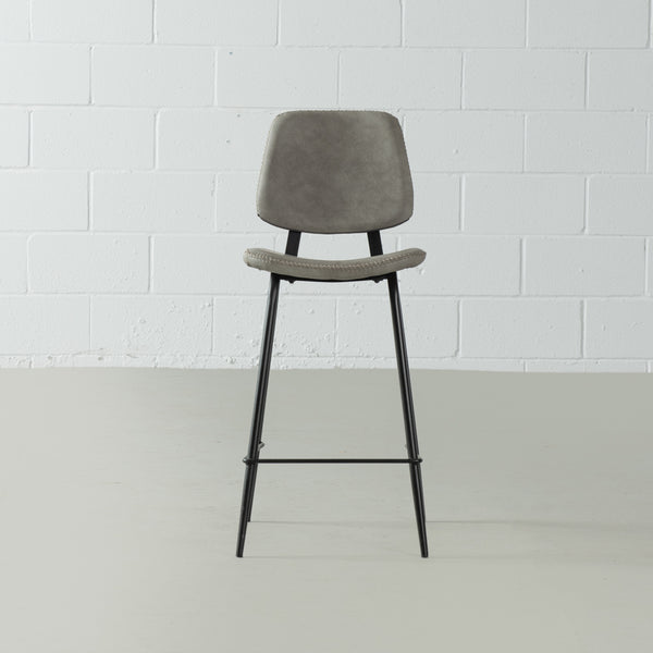 ELI - Grey Leather Bar Stool