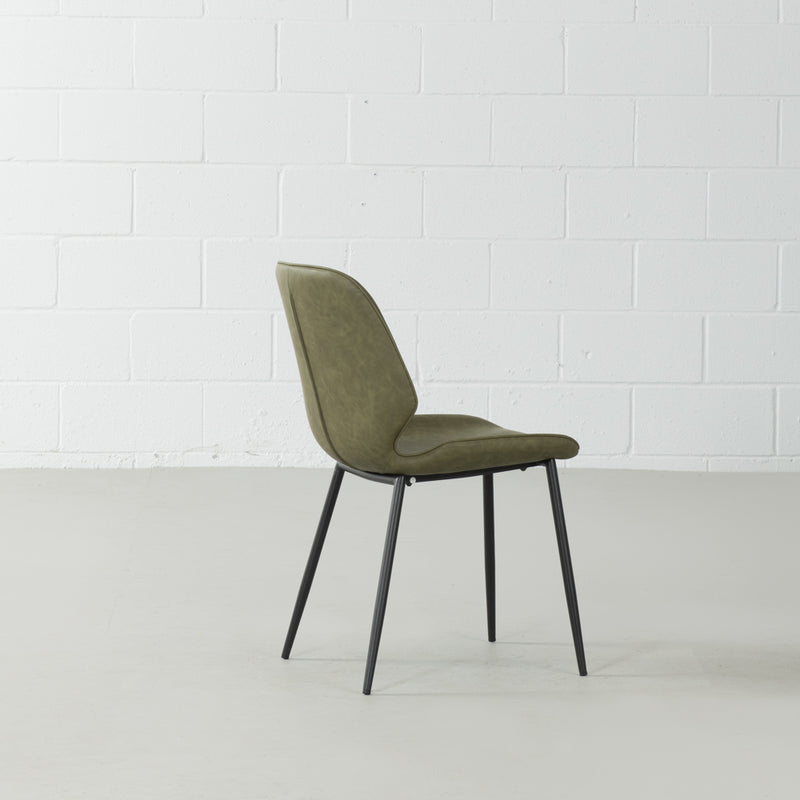 MONROE - Green Leather Dining Chair