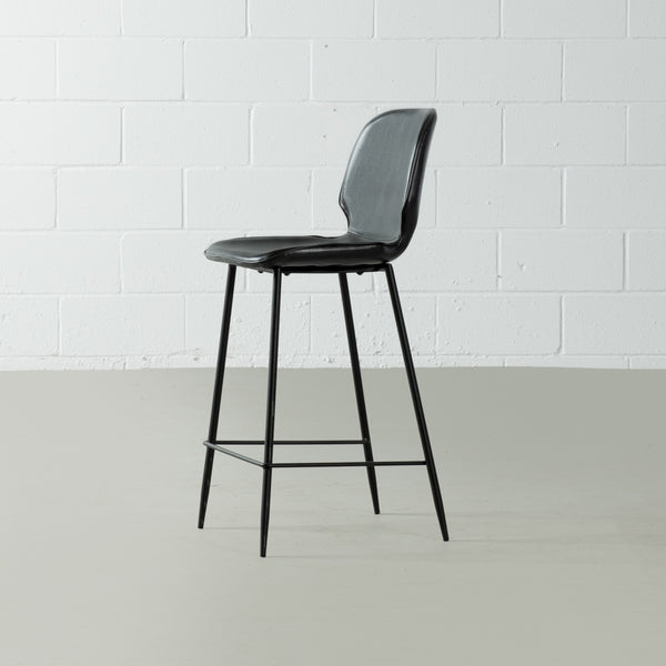 MONROE - Black Leather Bar Stool (65 cm + 75 cm)