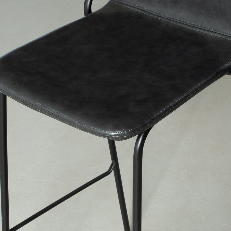 MADISON - Black Leather Bar Stool (75 cm)