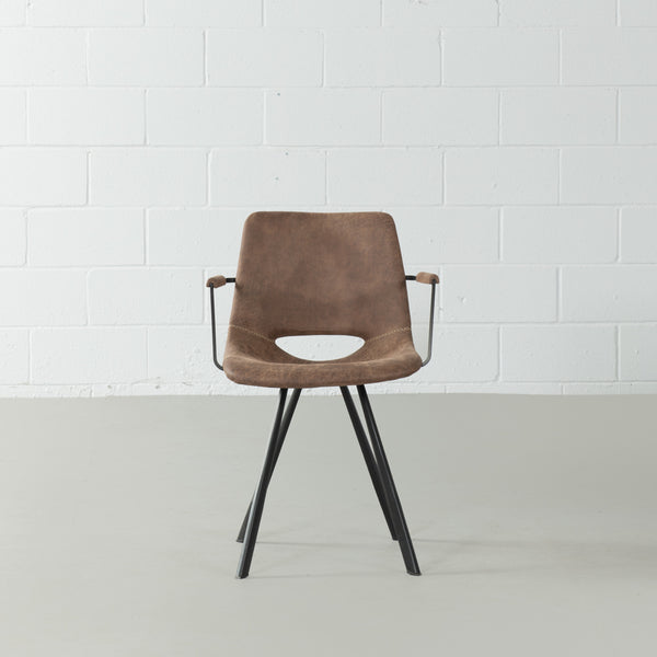 LORENA - Brown Leather Dining Armchair