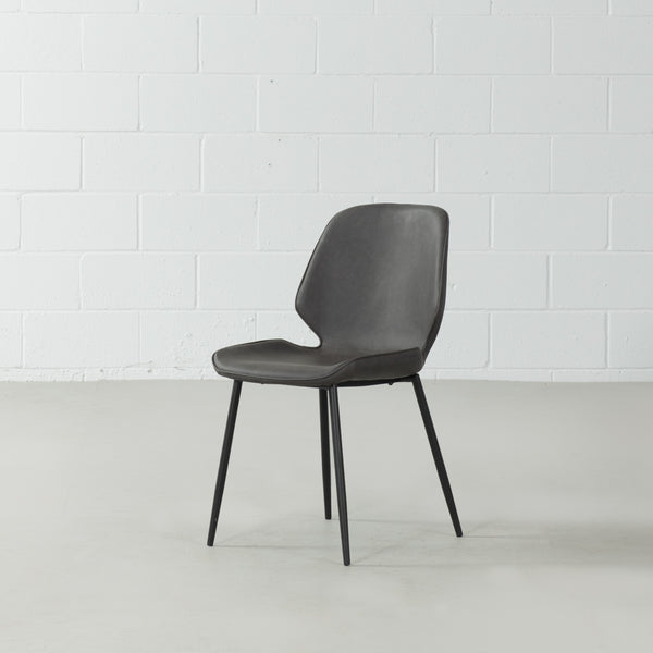MONROE - Grey Leather Dining Chair