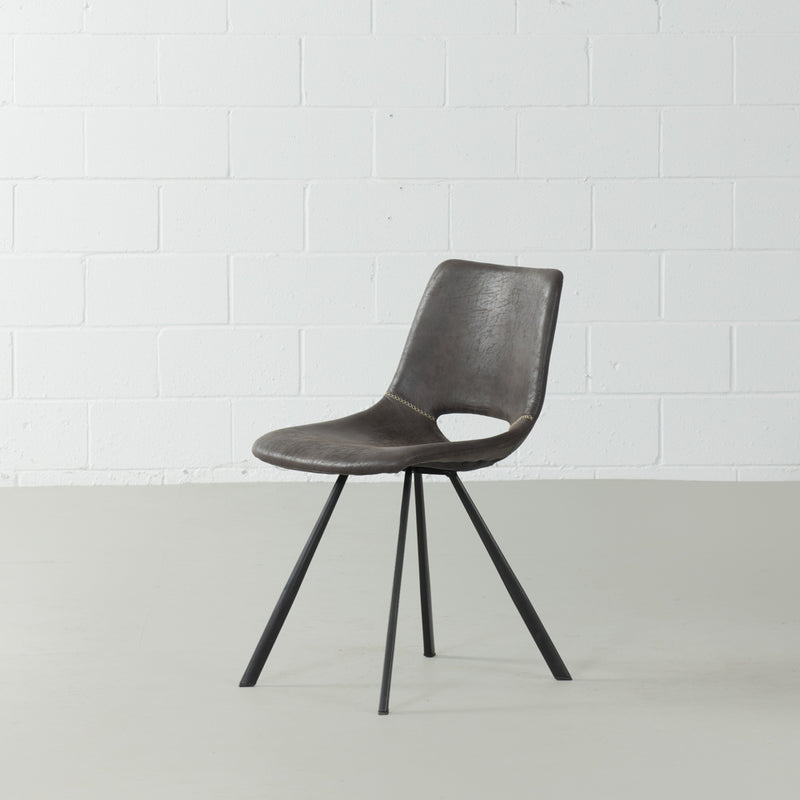 LORENA - Dark Grey Leather Dining Chair