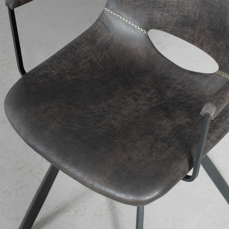 LORENA - Dark Grey Leather Dining Arm Chair