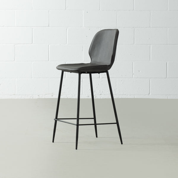 MONROE - Grey Leather Bar Stool (65 cm + 75 cm)