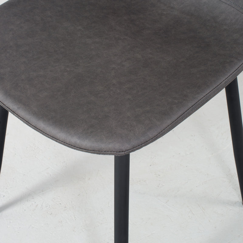 MILAN - Eames Style Dark Grey Leather Dining Chair