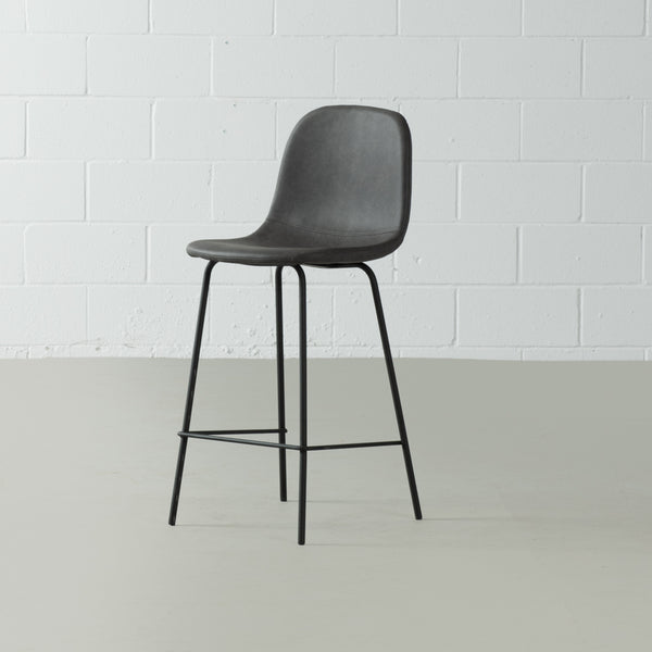 MILAN - Dark Grey Leather Bar Stool (65 cm + 75 cm)