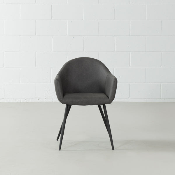 MILAN - Eames Style Dark Grey Leather Armchair