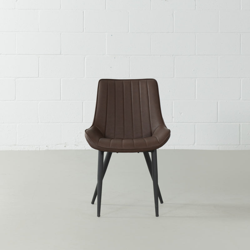 GLORIA - Brown Leather Dining Chair