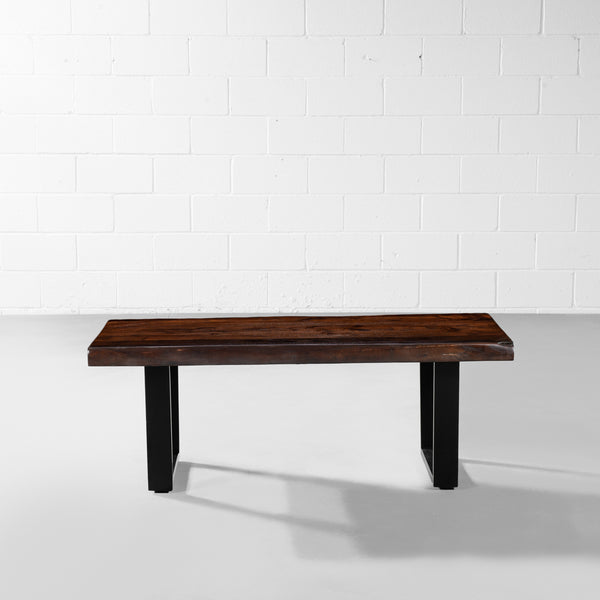 Acacia Honey Live Edge Wood Coffee Table with Black U Shaped Legs
