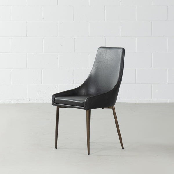 PAISLEY - Black Leather Dining Chair