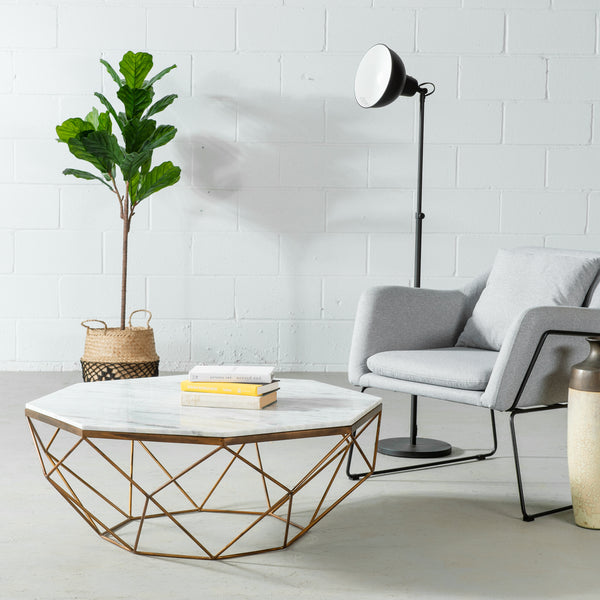 MAYE - Coffee Table With White Marble Top