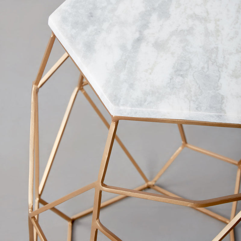 MAYE - Side Table With White Marble Top