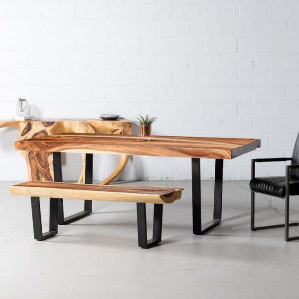 Straight Cut Suar Table with Black U Shaped Legs/Natural Finish