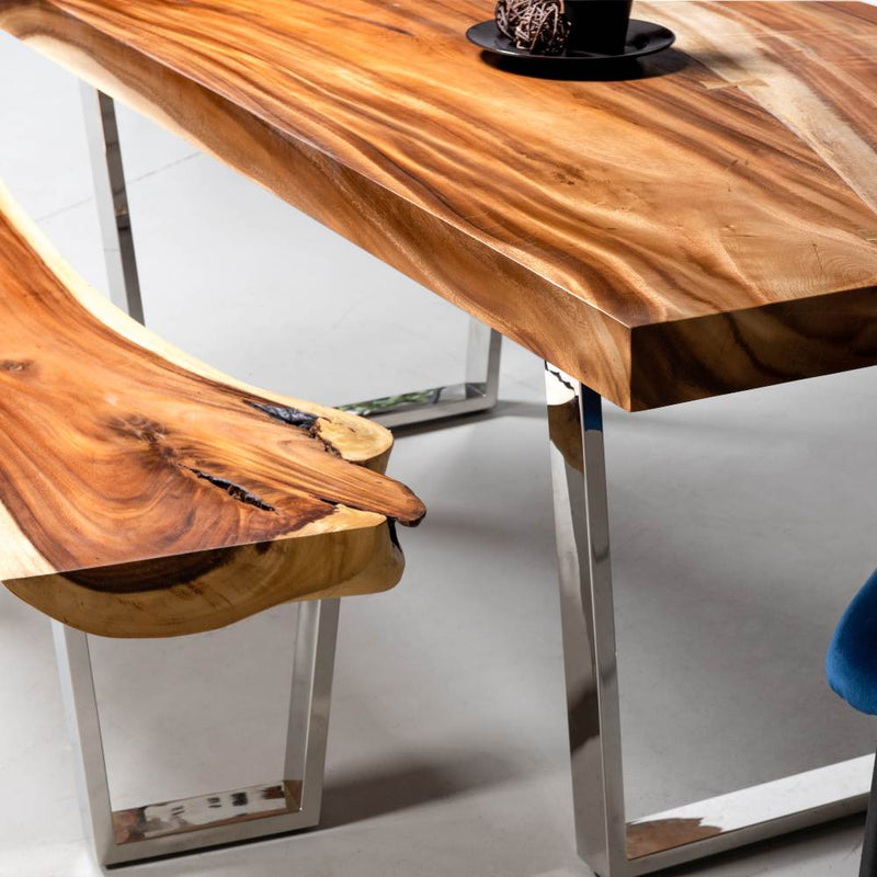 Straight Cut Suar Table with Chrome U Shaped Legs/Natural Finish