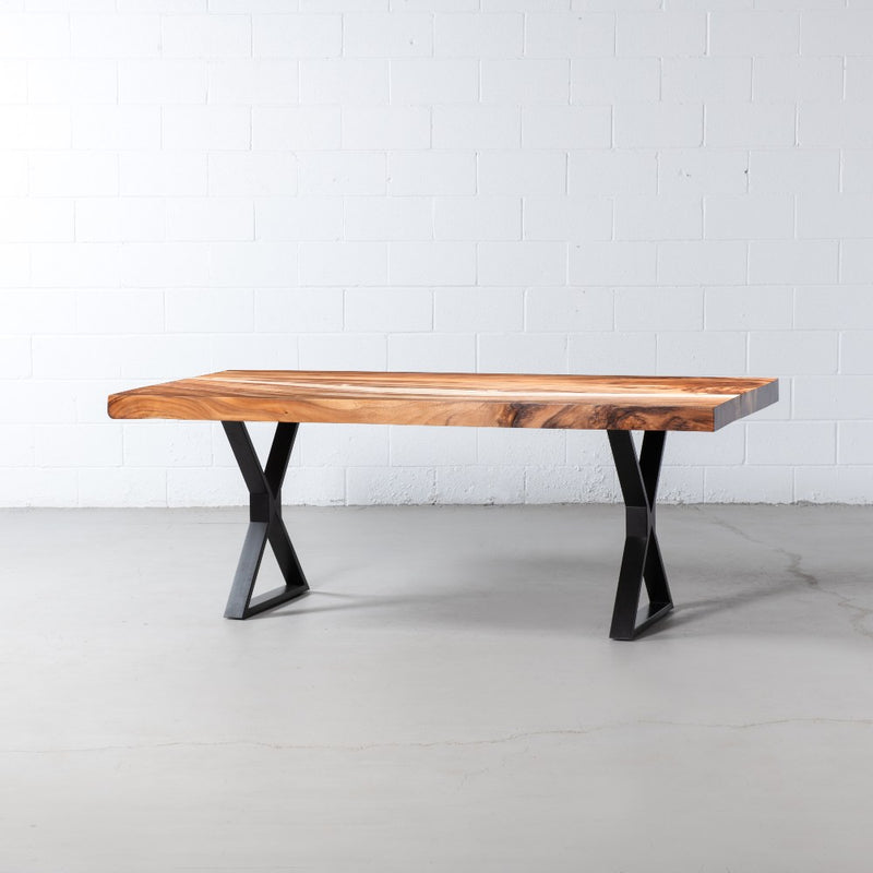 Straight Cut Suar Table with Black X Shaped Legs/Natural Finish