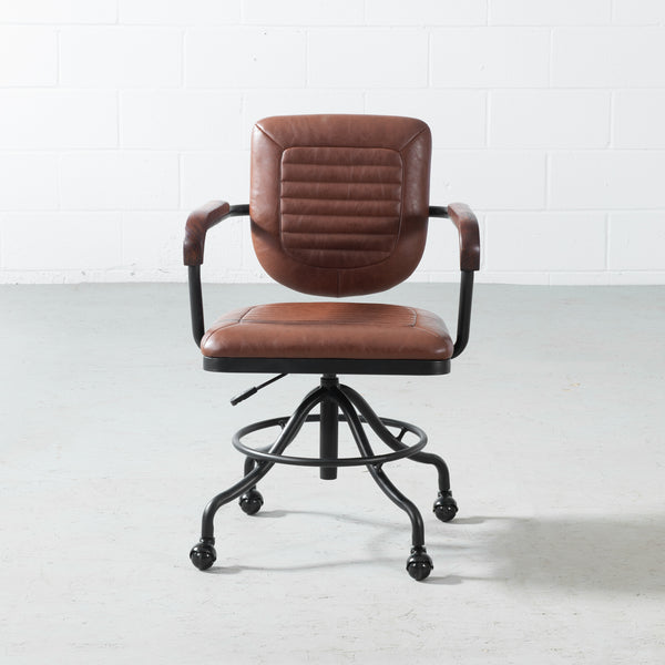 NOLAN - Brown Vintage Leather Office Chair