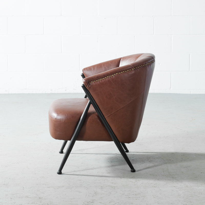 LEONE - Brown Vintage Leather Lounge Chair