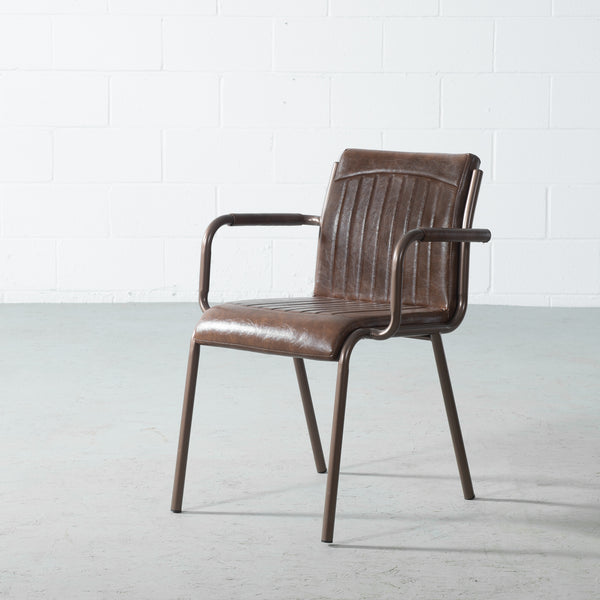 DUVALL - Brown Leather Dining Chair