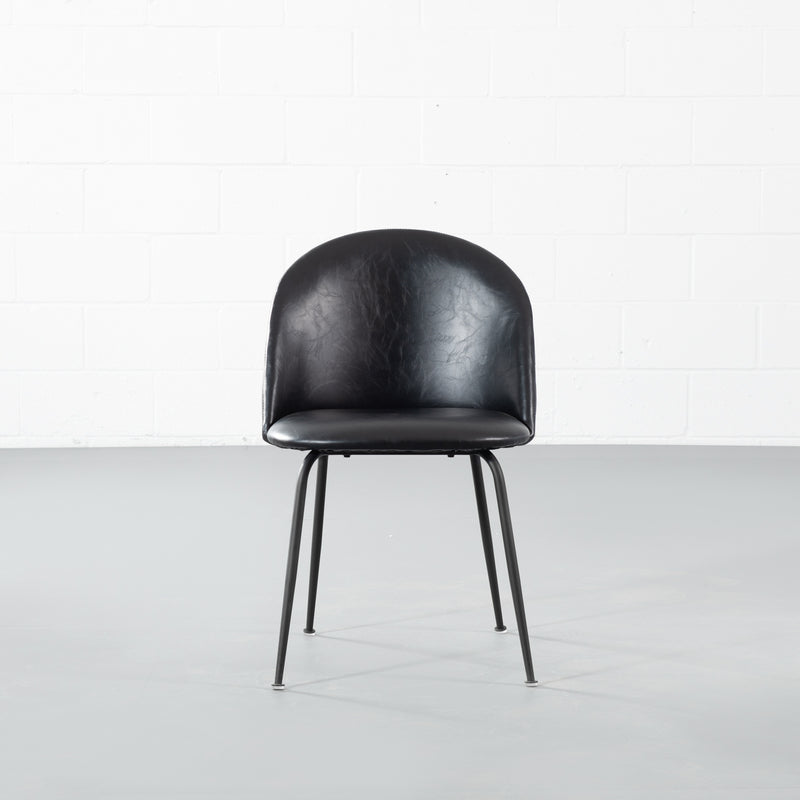 BRANSON - Black Leather Dining Chair