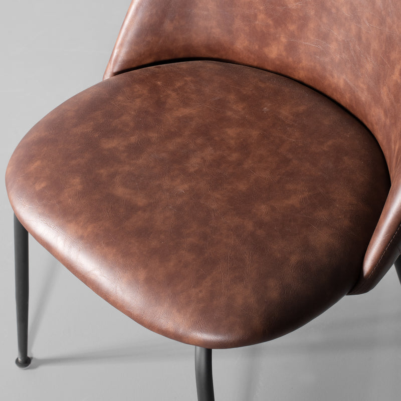 BRANSON - Brown Leather Dining Chair