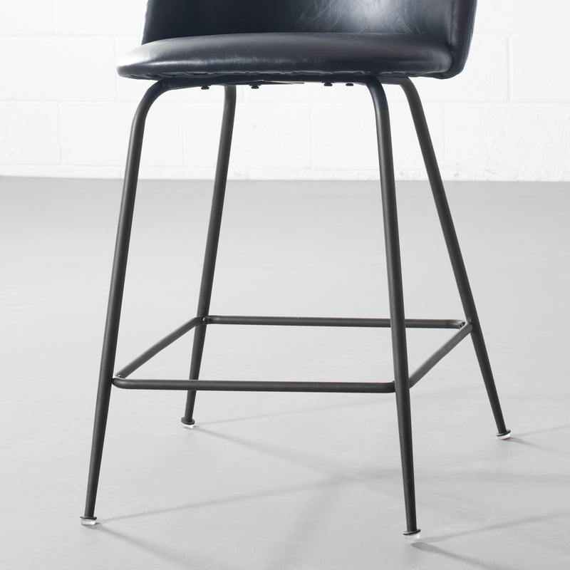 BRANSON - Black Leather Counter Stool