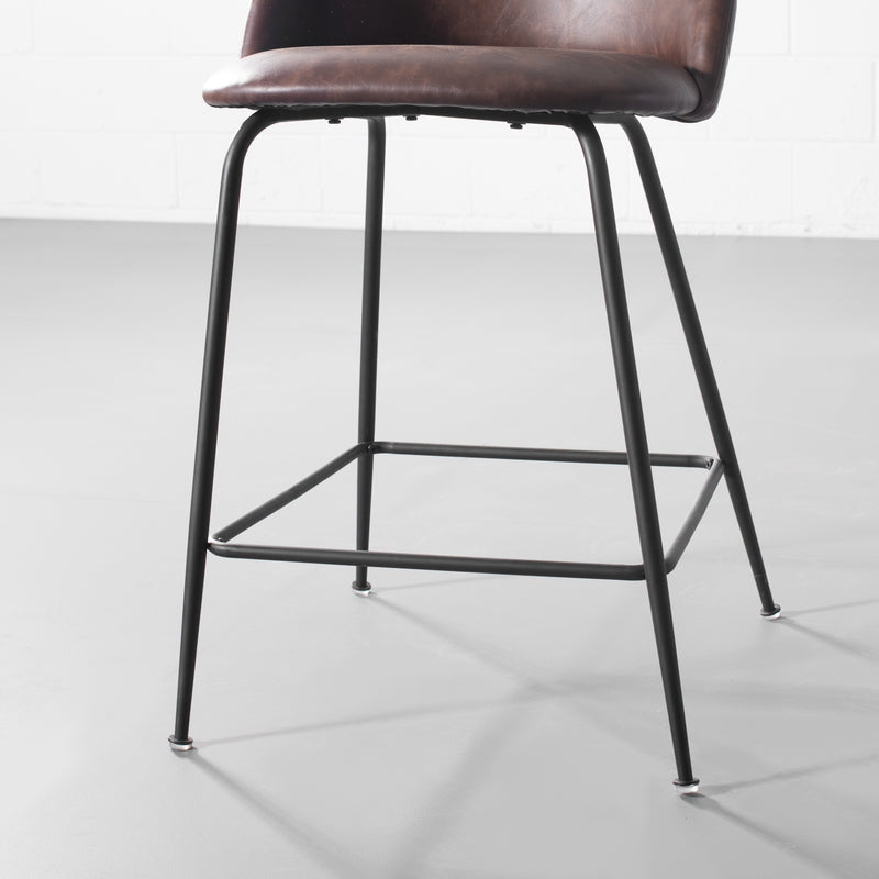 BRANSON - Brown Leather Counter Stool