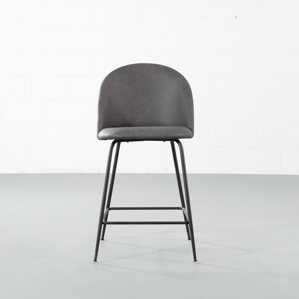 BRANSON - Grey Leather Counter Stool