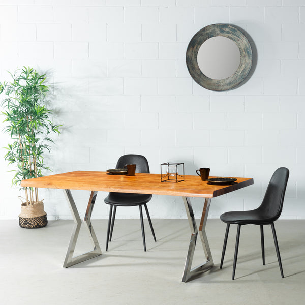TIME - Acacia Live Edge Table Hourglass Chrome