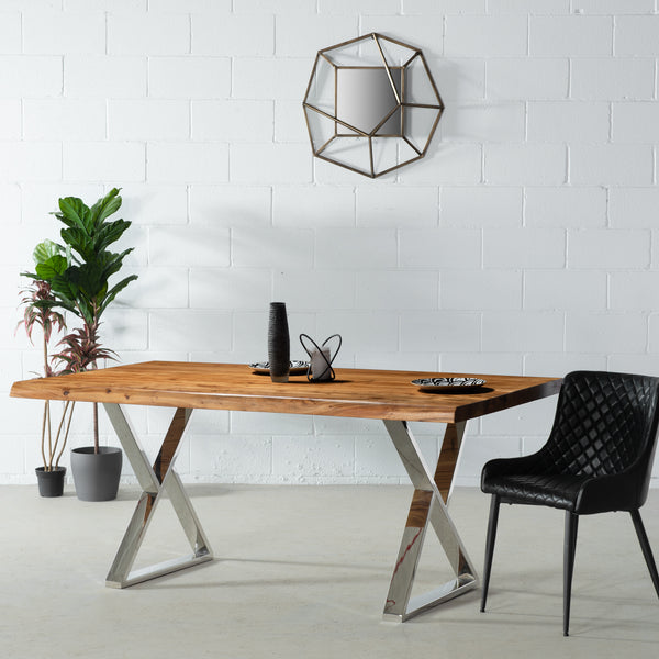 ZED - Acacia Live Edge Table Z Chrome