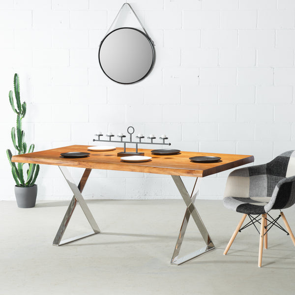 MACKENZIE - Acacia Live Edge Table Flat X Chrome
