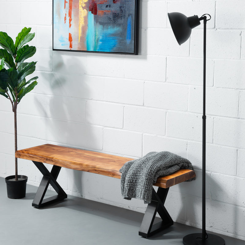 ZED - Acacia Live Edge Bench Z Black