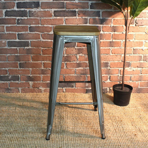 Tolix Style Bar Stool with Wooden seat - 76cm