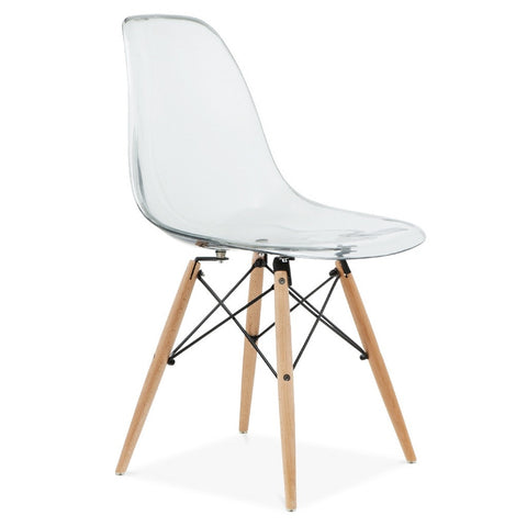 Eames Style Molded Side Chair Transparent Seat
