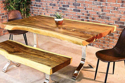 Live Edge Suar Table with Chrome Y Shaped Legs/Natural Finish - Wazo Furniture
