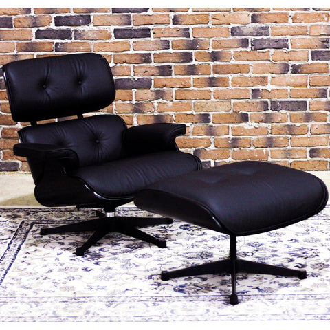 EAMES-STYLE - Molded Lounge Chair and Ottoman (All Black) - Wazo Furniture