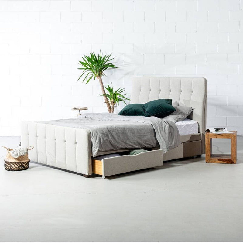 ANNISTON - Grey Fabric Bed with Storage - Wazo Furniture