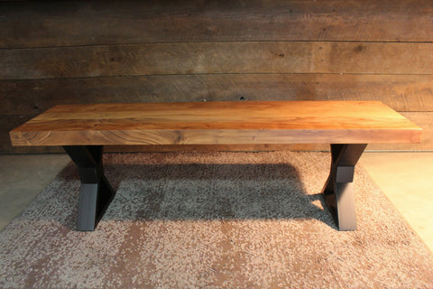 Acacia Straight Edge Bench - Black X Legs - Wazo Furniture