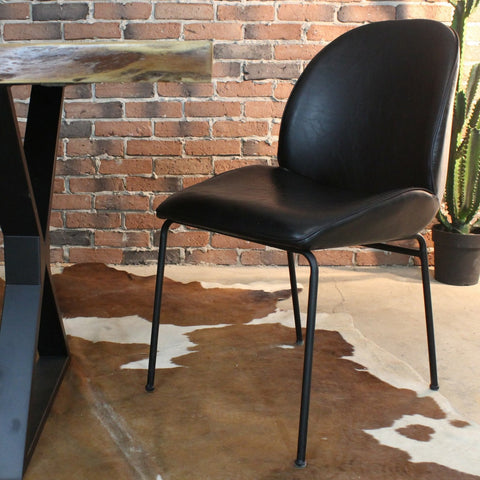 DIANA Dining Chair - Vintage Black Leather - Wazo Furniture