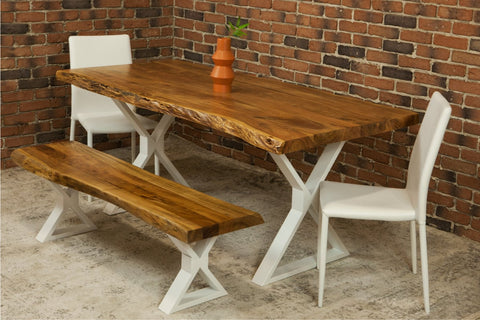 Acacia Live Edge Dining Table with White X Shaped Legs/Natural Color - Wazo Furniture