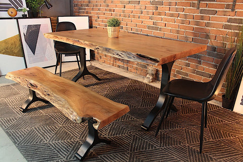 Acacia Live Edge Dining Table With Black Y Shaped Legs Natural Color
