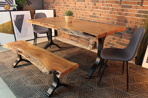Acacia Live Edge Dining Table With Black Y Shaped Legs/Natural Color   Wazo  Furniture