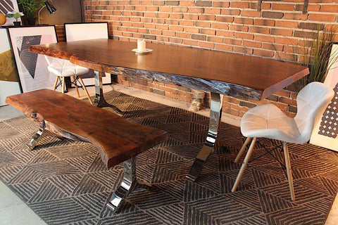 Acacia Live Edge Dining Table With Chrome Y Shaped Legs/Honey Walnut - Wazo Furniture