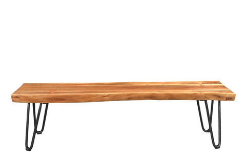 Acacia Live Edge Bench With Hairpin Legs