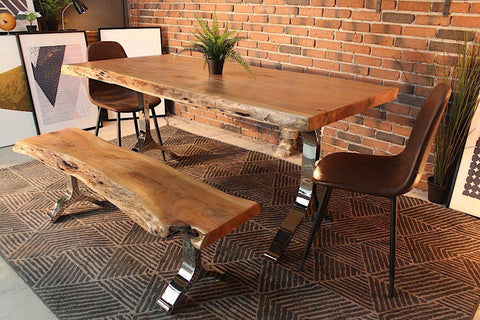Acacia Live Edge Dining Table With Chrome Y Shaped Legs Natural