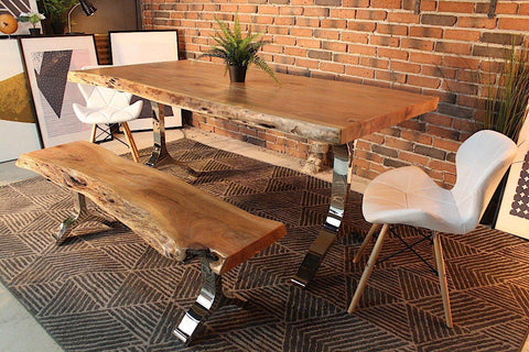 Acacia Live Edge Dining Table With Chrome Y Shaped Legs Natural Color