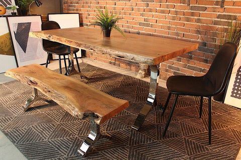 Acacia Live Edge Dining Table With Chrome Y Shaped Legs/Natural Color    Wazo Furniture