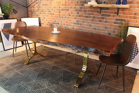 Acacia Live Edge Dining Table With Gold Y Shaped Legs Honey Walnut