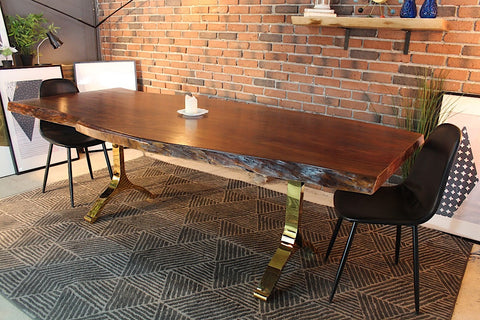 Acacia Live Edge Dining Table With Gold Y Shaped Legshoney Walnut